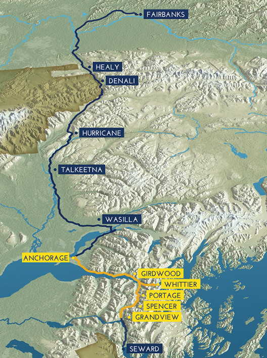 Alaska Railroad Map Route Map | Glacier Discovery | Alaska Railroad