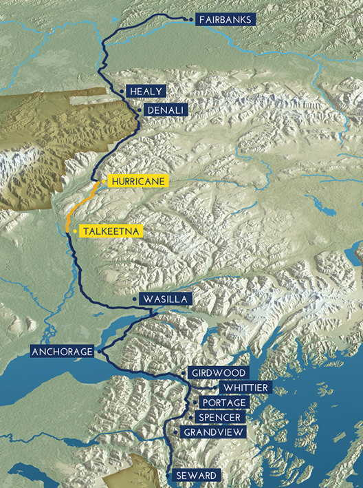 Route map hurricane turn alaska railroad