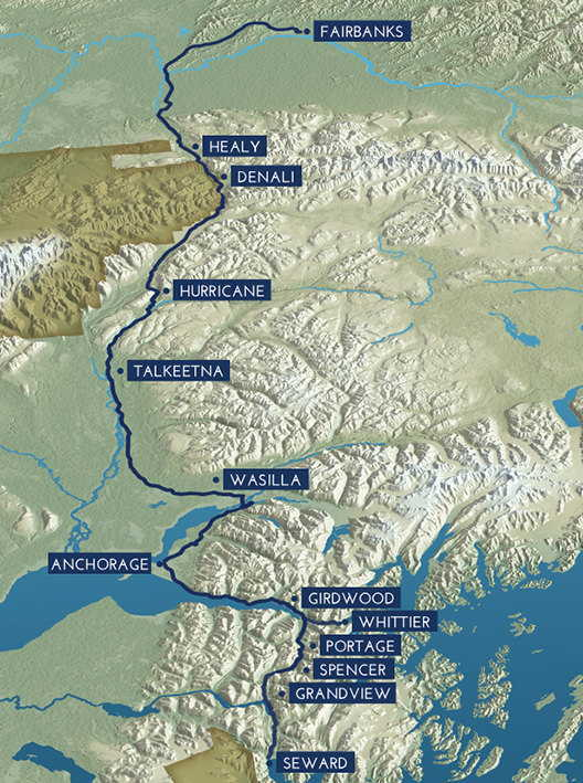 Us Map Of Railroads map of the entire length of the alaska